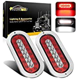 Partsam 2Pcs 6-1/2' Oval Led Trailer Tail Lights 23 LED Flange Mount Waterproof Combo Red Stop Brake Tail Running Lights Taillights White Back Up and Reverse Lights Sealed with Reflectors 12V DC