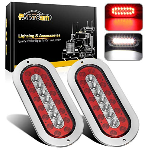"Partsam 2Pcs 6-1/2"" Oval Led Trailer Tail Lights 23 LED Flange Mount Waterproof Combo Red Stop Brake Tail Running Lights Taillights White Back Up and Reverse Lights Sealed with Reflectors 12V DC"