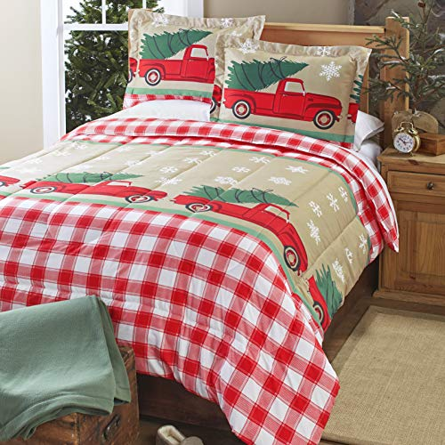 Tree Farm Holiday Comforter Set with Vintage Truck, Christmas Trees - Set of 3 - King