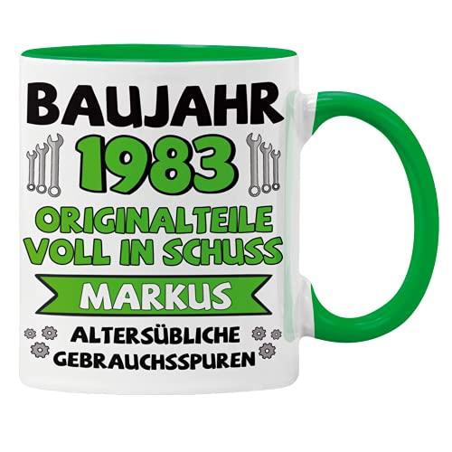 GESCHENK1 Namenstasse mit Wunschnamen & Geburtsjahr grün/ 330ml – personalisierte Kaffeetasse/ Kaffeebecher mit Namen & Baujahr - Geburtstags Tasse als Geschenkidee für Männer & Frauen