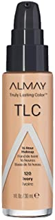 Almay Truly Lasting Color Liquid Makeup, Long Wearing Natural Finish Foundation with Vitamin E and Lemon Extract, Hypoallergenic, Cruelty Free, Fragrance Free, Dermatologist Tested, 120 Ivory, 1 oz
