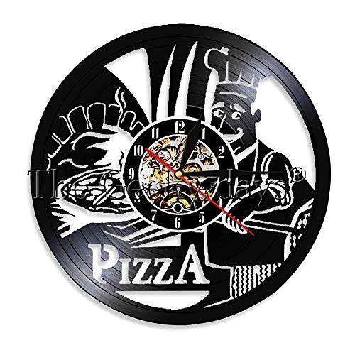 HHCUIJ Schallplattenwanduhr 1-teilige Pizza Time Vinyluhr Küchenwanduhr Moderne Wandkunst 3D Wanduhr Fast Food Grammophon Schallplatte Pizza Store Uhr-12 Zoll