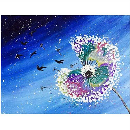 N\A Pinturas con Numeros para Adultos - Kits Manualidades - Pinturas para Lienzo - Pinturas Oleo - DIY Regalos Diente De León Color Azul Estrellado