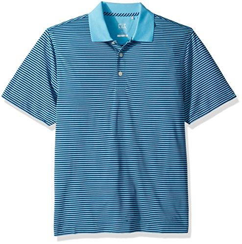 Cutter & Buck Men's Moisture Wicking Drytec Lightweight Trevor Stripe Polo Shirt, Aruba/Nautical, Medium