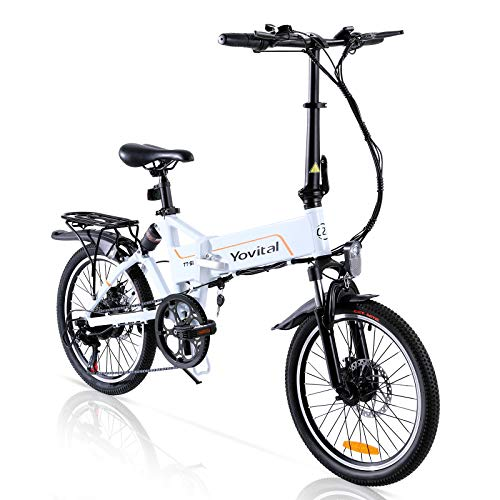 """Yovital Electric Bicycle,Folding 20"""" Electric City Bike with Removable Battery Pedal Assist Power,3 Riding Modes,Electric Assist,Keylock,and 350W Brushless Motor"""