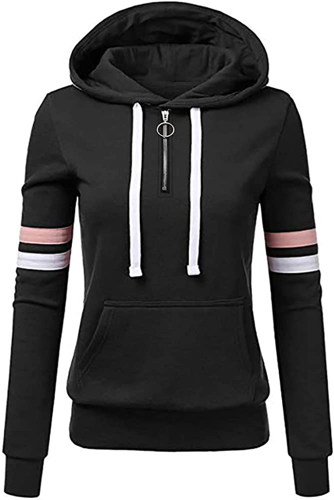 Hoodie for Women Plus Size Sweatshirt Solid Crewneck Long Sleeve Casual Loose Tops Striped Drawstring Coat with Pocket
