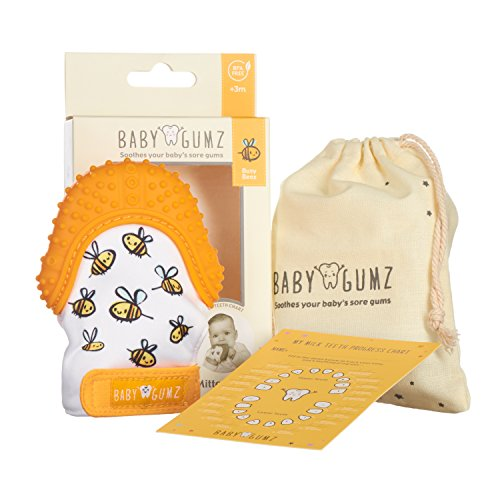 Teething Mitten for Babies by Baby Gumz®. Premium Quality Silicone Teether Glove. Ideal Christmas Baby Present Gift. Available in 3 Colours. Designed in Great Britain.