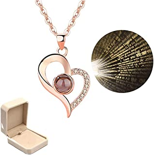 Chic I Love You Heart Necklace Memory 100 Languages to Express I Love You Pandent Necklace Christmas Surprise Gift for Her