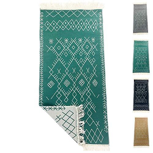SOLTAKO Kleiner Kelim Teppich Läufer mit Fransen und Muster Retro Boho Ethno marokkanisch Berber waschbar Vintage Modell Agadir (Jade/Ecru), 135 x 65 cm