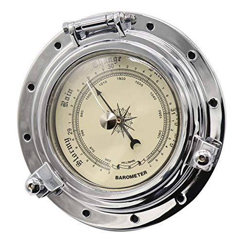 IPOTCH Barometer Kompensierte Schiffsbarometer Wandhängendes Wetterstation Barometer-Thermometer-Hygrometer