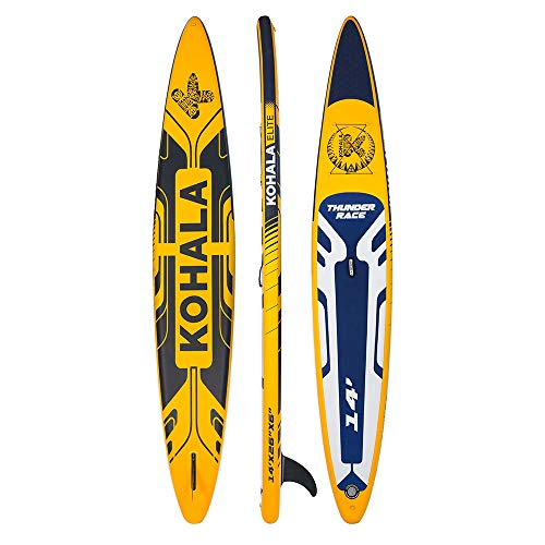 KOHALA Tabla de Paddle Surf Thunder Race Color Amarillo - Tipo Race - Capacidad Máxima 170 kg - Aletas: 1 de Sistema Usbox