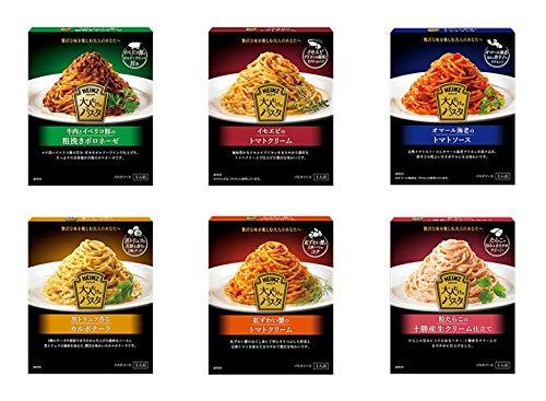 ハインツ 大人むけのパスタ 6種(牛肉とイベリコ豚の粗挽きボロネーゼ・イセエビのトマトクリーム・オマール海老のトマトソース・黒トリュフ香るカルボナーラ・紅ずわい蟹のトマトクリーム・粒たらこの十勝産生クリーム仕立て)各1箱 計6箱