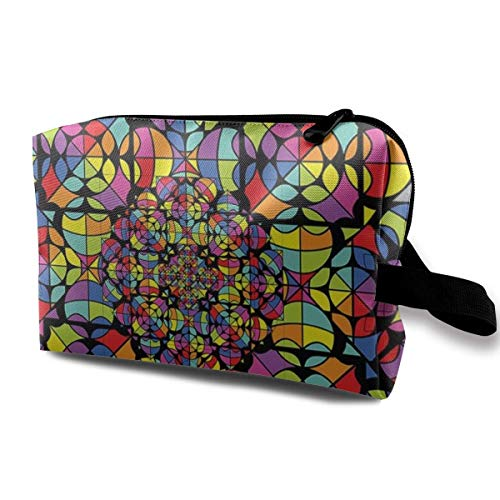 Makeup Bag Cosmetic Pouch Stained Glass Style Mandala Multi-Functional Bag Travel Kit Storage Bag