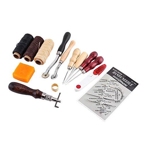 LiebeWH 14 herramientas de piel cosidas a mano, bolsa roscada, dedal encerado con alta estructura y dureza.