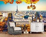 Papel Pintado France Houses Autumn Paris Street Papel Tapiz 3D, Sala De Estar Dormitorio Sofá Tv Pared Cocina Papeles De Pared Decoración Para El Hogar,200Cmx140Cm