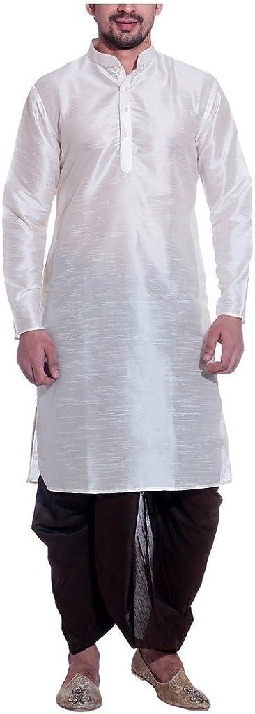 Royal Men's Silk Blend Dhoti & Kurta Set_White