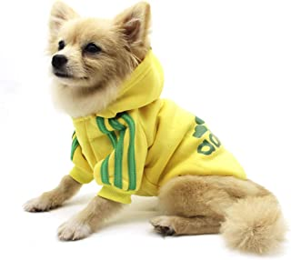QiCheng&LYS Adidogペット服、犬の冬のパーカーの服の子犬のかわいい暖かいパーカーのコートのセーター、犬の猫のための (XXL, 黄)
