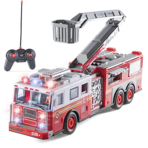 Prextex RC Fire Truck Toy for Kids with Remote Control, Lights, and Siren Sounds Large 14-Inch Fire Truck Best Gifts Toys for Boys