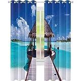90% -99% cortina opaca, vista al mar y el mar en la imagen tropical del centro turístico de la isla del Caribe, 96 x 108 pulgadas con ojales para habitación de niñas, color azul turquesa
