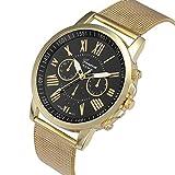 Relojes Pulsera Mujer, Xinan Moda Clásica de Oro Cuarzo Ginebra Reloj de Pulsera de Acero Inoxidable (Negro)