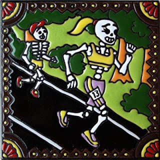 Fine Crafts Imports 6x6 Marathon. Day-of-The-Dead Clay Tile