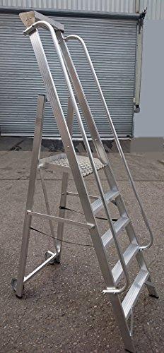 Alu Podestleiter/Fahrbare Leiter/Neue Ausführung / 1 x 5 Stufen / 125cm Podesthöhe/ganze Stufe/extra langer Handlauf / 3,05 m Arbeitshöhe/mit Alu-Ablageschale/mit Rollen/verfahrbar