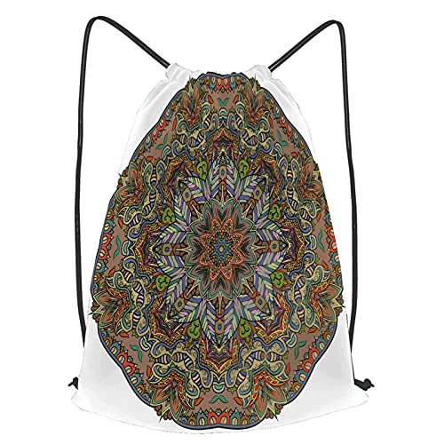 fudin Impermeable Bolsa de Cuerdas Saco de Gimnasio flor tracería rueda mehndi diseño étnico Deporte Mochila para Playa Viaje Natación