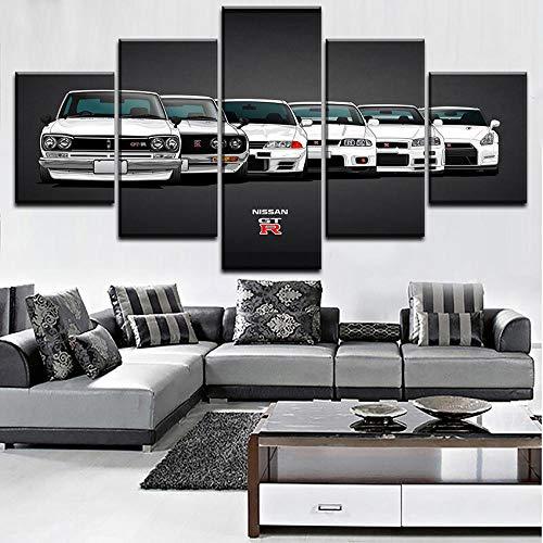 Bilder Dekorative malerei Spray malerei leinwand malerei 5 stück Nissan Skyline GTR Auto Leinwand Wandbild, Möbel Art Deco, Rahmen