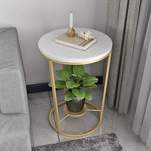 FCXBQ Home D & Eacute; COR Furniture 2-stufiger Eck-Beistelltisch Kleiner Marmor-Couchtisch mit rundem schmiedeeisernen Regal, Wohnzimmermöbeln Wohnzimmer oder Lounge