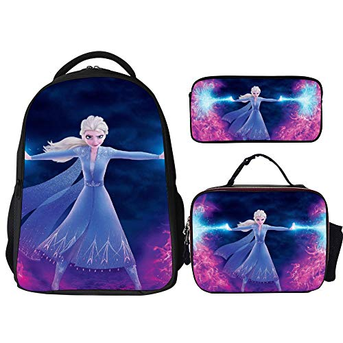 Backpacks 3Pcs Set,Fro-zen 2 Elsa (1),Backpack with Lunch Bag and Pencil Case Kids 3 in 1 Bookbags Set Cute School Bag for Teen Girls Boys Water Resistant