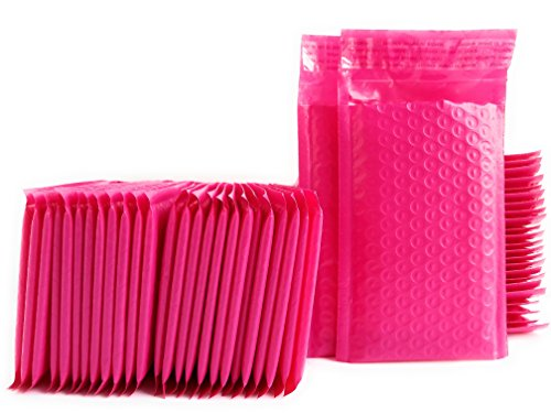 """Kelkaa #000 Pink Poly Bubble Mailers Bulk Self Seal Padded Envelopes 4"""" x 8"""" Shipping Bubble Mailer Bags (Pack of 50)"""