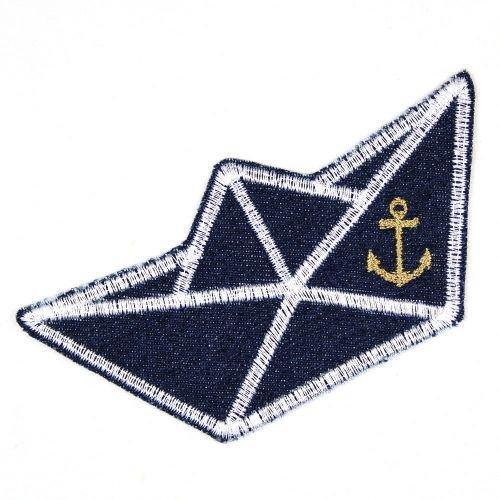 Bügelflicken Boot auf Jeans blau 5,5 x 11,5 cm Flicken zum aufbügeln Denim Aufbügler gesticktes Bügelbild für Kinder und Erwachsene als Applikation und Accessoire