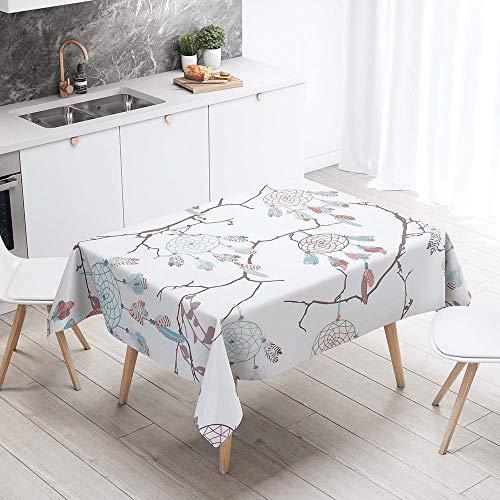 Mantel para Mesa Impermeable Antimanchas, Chickwin Cocina Salón Comedor Rectangular Resistente al Desgaste Lavable Mantel de Tela de Poliéster Impresión 3D (Rama de árbol,140x140cm)