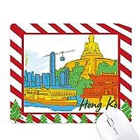 中国香港ビクトリアの水彩画 ゴムクリスマスキャンディマウスパッド