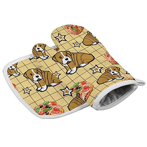 Pizza-Hamburger-Hund, gelbes Gittermuster, Ofenhandschuhe, professionell, hitzebeständig, für Mikrowelle, Grill, Ofen, Isolierung, Verdickung, Baumwolle, Backhandschuhe mit weichem Innenfutter