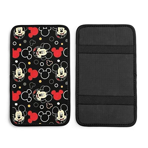 ZLCMMF Auto Center Console Pad Mickey Mouse Waterproof Car Armrest Seat Box Cover Protector Universal Fit Most Vehicle, SUV, Truck, Car