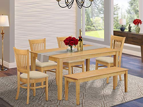 East West Furniture CAVA6-OAK-C Rectangular Dinette Set 6 Piece - Linen Fabric Modern Dining Chairs Seat - Oak Finish Dinner Table and Kitchen Dining Bench