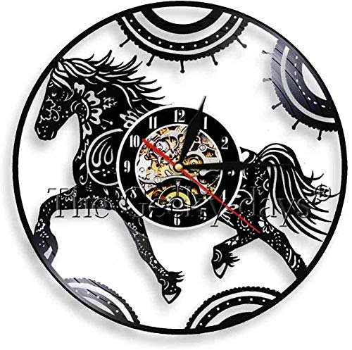 Floral Horse Watch wandklok Modern Design Home Decor Vinyl wandklokken Animal Wall Art Decor
