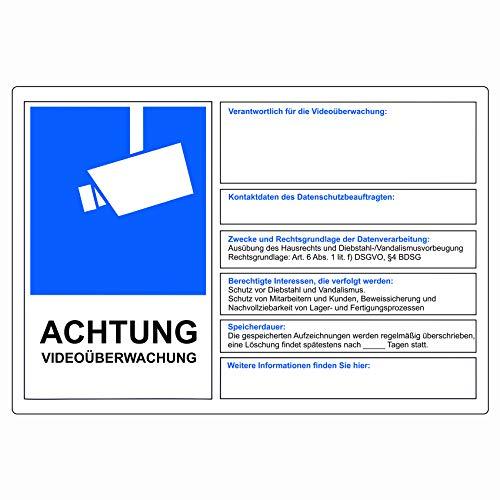 Attenzione Viedoüberwachung DSGVO BDSG protezione dei dati Info Blu Video di sorveglianza adesivo segnalazione furto