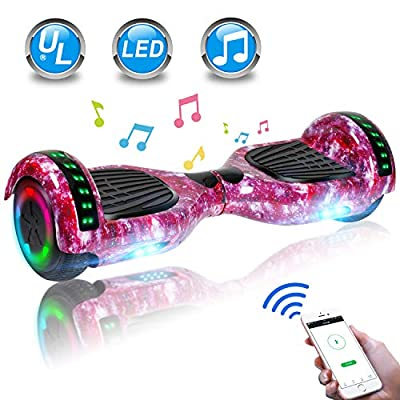 """UNI-SUN 6.5"""" Hoverboard for Kids, Two Wheel Electric Scooter, Self Balancing Hoverboard with Bluetooth and LED Lights for Adults, UL 2272 Certified Hover Board(Star Purple)"""