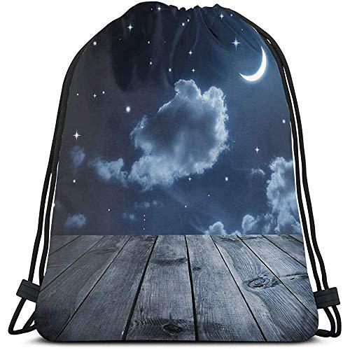 Lemotop Rugzakken Zakken, Levendige Nachthemel Met Sterren Wolken En Crescent Maan Houten Planken Hemelse Verstelbare String Sluiting