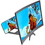 DRIDOUAM 12' HD Curved Phone Screen Magnifier HD Amplifier Projector Magnifing Screen Enlarger for Movies, Videos, and Gaming with Foldable Stand Compatible with All Smartphones