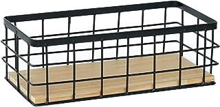 DUMGRN - Panier de rangement mural avec base en bois, plateau de rangement en fer à suspendre, étagère de rangement multi-...