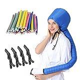 (3 in 1) 24 pcs Flexi Twist Foam Hair Curler Rollers Curling Rods 9.45' Long + Hair Dryer Bonnet Attachment + 4 pcs Hair Styling Clips (Blue)