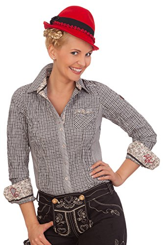 Spieth & Wensky Trachten Bluse Crashoptik, Langer Arm - AURIS - flaschengrün, schwarz, Größe 36