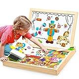 aolongwl Rompecabezas de niños 100+unids madera multifunción niños animales rompecabezas escritura magnética tablero de dibujo pizarra aprendizaje educación juguetes para niños