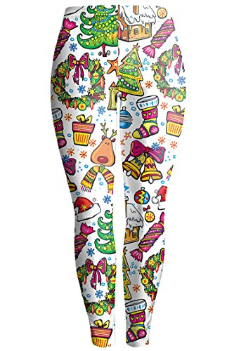 Pink Queen Women's Christmas Santa Claus Print Leggings Stretchy Tights,Pattern 16, Large