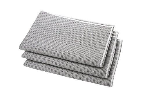 HELOME® Microfaser Trockentücher (3 Stck) | Geschirrtücher saugstark für Küche, Gastronomie, Auto | Trocknet Fenster, Armaturen, Gläser, Besteck garantiert streifenfrei