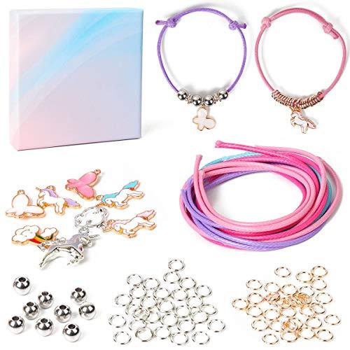 Yiran - Kit di braccialetti dell'amicizia, per creazioni artistiche e gioielli, per bambine dai 4 ai 5 ai 6 7 8 e 24 tipi (unicorno)