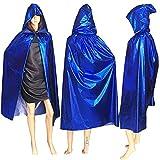 YING Disfraces de Halloween Mujeres Hombres Capa Disfraces para Juegos de rol Bruja Carnaval Disfraz de Mago Adulto de Halloween,Azul,M